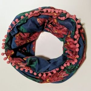 A. Eagle Floral Infinity Scarf With Mini Pom Poms